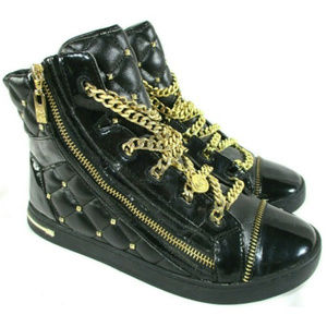 MICHAEL KORS Urban Gold Chain Stud Patent High Top